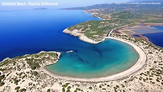 Drone footage of world famous Voidokilia Beach in Messinia, Greece