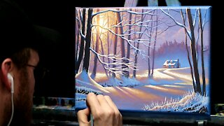 Acrylic Landscape Painting of A Winter House - Time Lapse - Artist Timothy Stanford