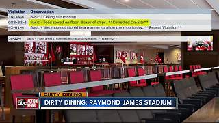Dirty Dining: Food Vendors inside Raymond James Stadium fumbled with serious violations - Video