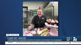 """Cake by Jason in Timonium says """"We're Open Baltimore!"""""""