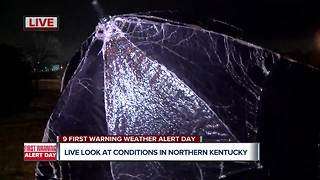 Freezing rain falling across Northern Kentucky
