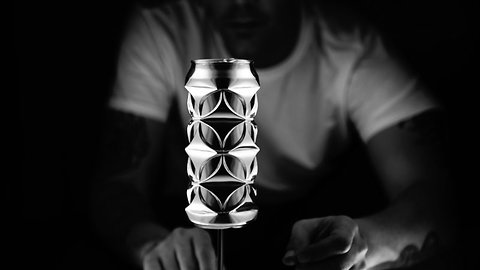 Artist turns humble aluminium cans into geometric masterpieces using just his fingers and thumbs