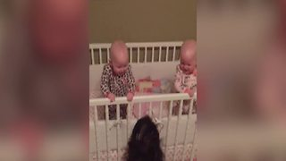 Twin Baby Girls Laugh Together With Their Mom - Video