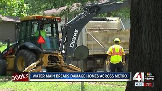 For 2nd day straight, water mains bust around KC - Video
