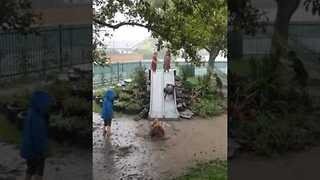 Children Play in Mud Puddles as Severe Weather Lashes New Zealand - Video