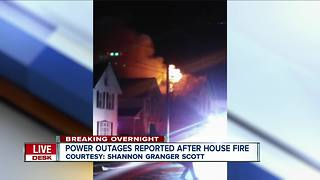 Power outages reported after house fire - Video