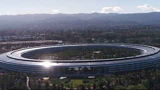 Aerial Footage Captures View of Apple Park in Cupertino, California - Video