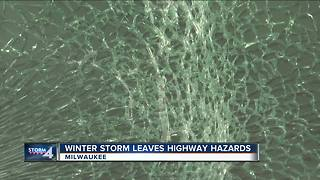 Ice falls from car roof, shatters man's window