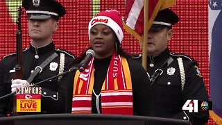 National Anthem performed at Chiefs' Super Bowl rally