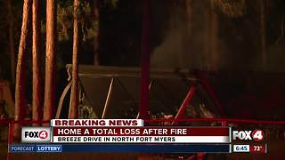Mobile home destroyed by fire in North Fort - Video