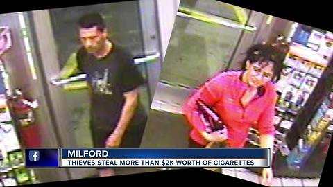Police search for two suspect in theft of $2,000 of cigarettes from gas station