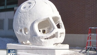 Cool ice sculptures outside Lambeau Field - Video