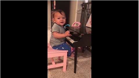 Baby boy loves to play the piano