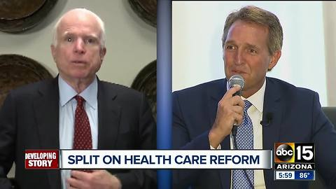 McCain opposes healthcare reform bill, Flake supports it