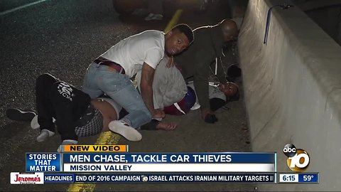 Men chase women who stole their car, pin them down