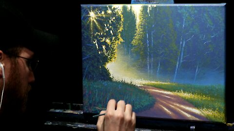 Acrylic Landscape Painting of a Misty Forest Path - Time Lapse - Artist Timothy Stanford