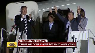 Trump welcomes home detained Americans - Video