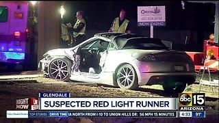 One taken to hospital after being hit by suspected red light runner in Glendale - Video