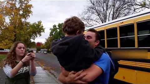 Special needs child thrilled by older brother's surprise visit home