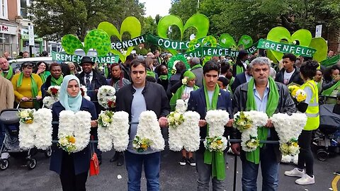 Crowds gather in North Kensington to show their solidarity on second anniversary of Grenfell Tower fire