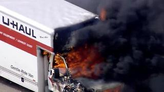 U-Haul truck catches fire on 215 beltway in Las Vegas - Video