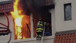 Firefighters Rescue Man Trapped in Burning Building in Massachusetts - Video