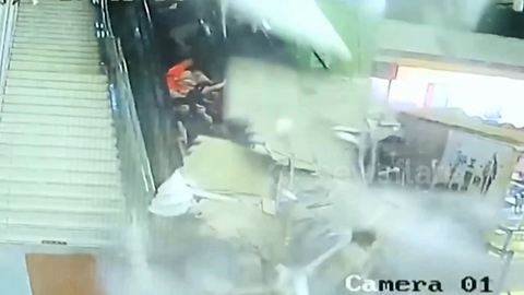 Moment of roof collapse at tourist centre in northern China
