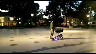 Smooth Parenting as Kid Falls Asleep in Hoverboard-Pushed Stroller - Video