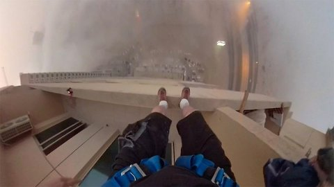 Honey I'll Get The Milk! Mans Hilarious But Scary Video As He Base Jumps From 29th Story Balcony