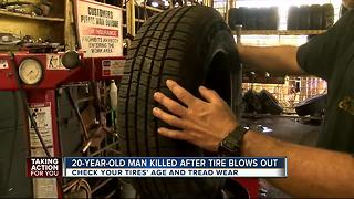 20-year-old man killed after tire blows out