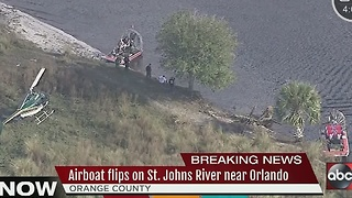 Airboat carrying 7 overturns on St. Johns River in Orange County - Video