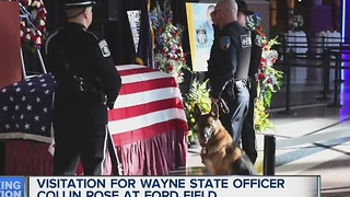 Visitation held for Officer Collin Rose at Ford Field - Video