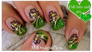 St. Patrick's Day shamrock nail art design DIY - Video