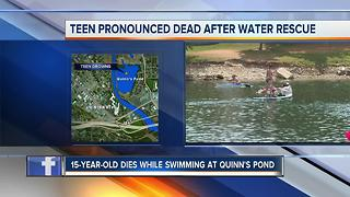Teen dies after water rescue at Quinn's Pond - Video