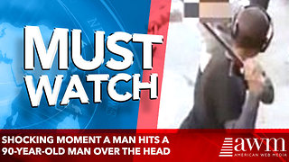 Shocking moment a man hits a 90-year-old man over the head - Video