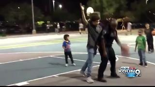 Marana sergeant shoots hoops with kids - Video