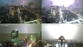 Large Thunderstorm Lights Up Mexico City - Video