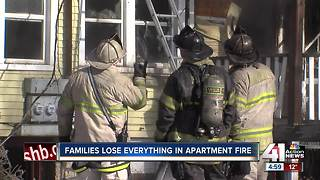 Families lose everything in three-alarm apartment fire - Video