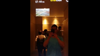 Futuristic public bathroom mirror in Korea - Video
