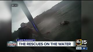 VIDEO: Big waves, rescues on Lake Pleasant after storms - Video
