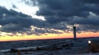 Icy Waves Batter Shore of Lake Ontario - Video