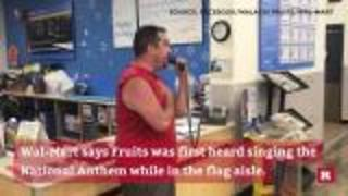 Man receives applause as he sings national anthem inside a Wal-Mart | Rare News - Video