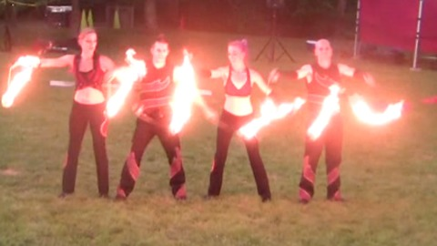 Exciting fire performance dazzles crowd