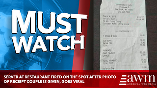 Server At Restaurant Fired On The Spot After Photo Of Receipt Couple Is Given, Goes Viral - Video
