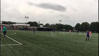 Superb free kick scored in non league women's football game - Video