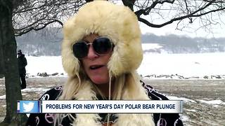 Local polar bear plungers go home without taking a plunge - Video