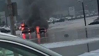 Car Catches Fire as Flash Flooding Hits Pittsburgh Area - Video
