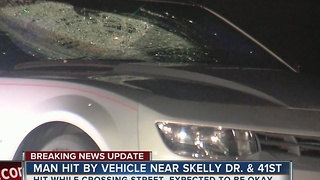 Man hit by vehicle while crossing the street near Skelly Dr. 41st St. - Video