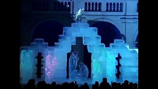Life-sized Nativity Ice Sculpture - Video