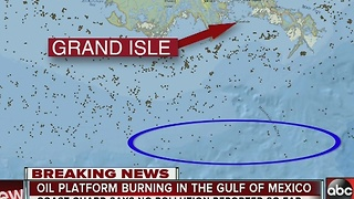 Oil platform burning in the Gulf of Mexico - Video
